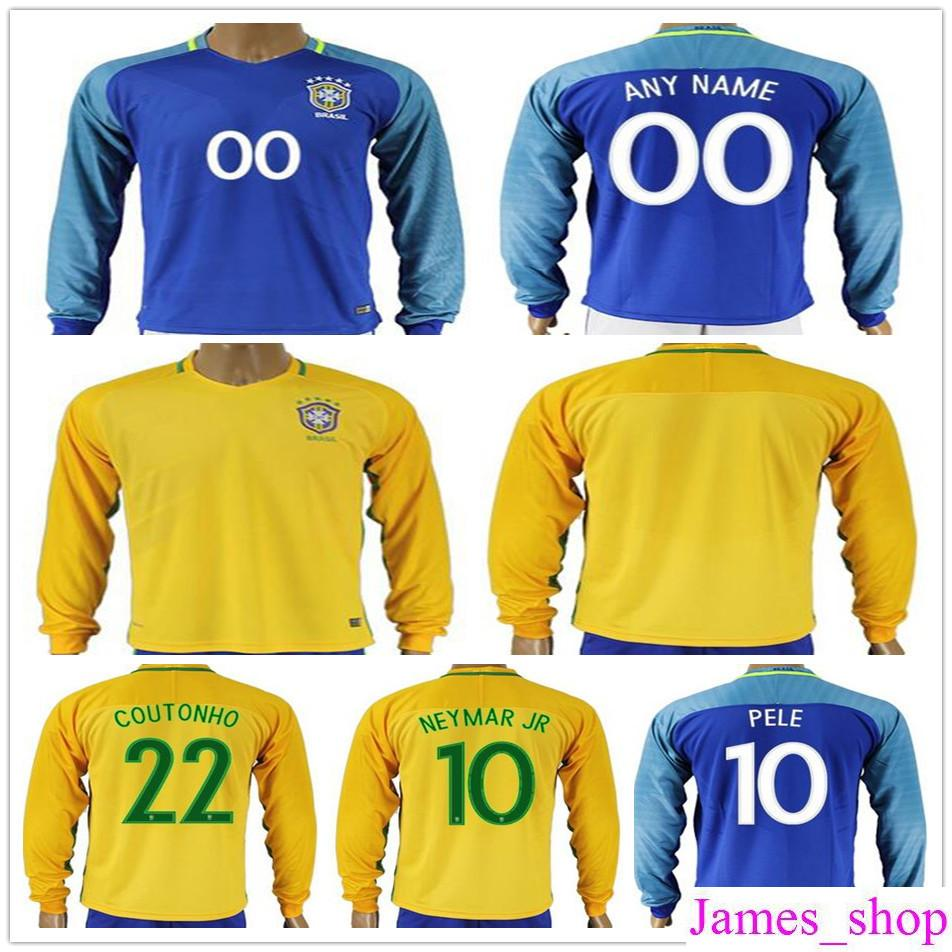 various colors d9705 fc02e Mens Brazil Long Sleeve Football Jersey Shirt 10 NEYMAR JR PELE RONALDINHO  COUTONHO DAVID LUIZ MARCELO Yellow Blue Home Away Soccer Jerseys