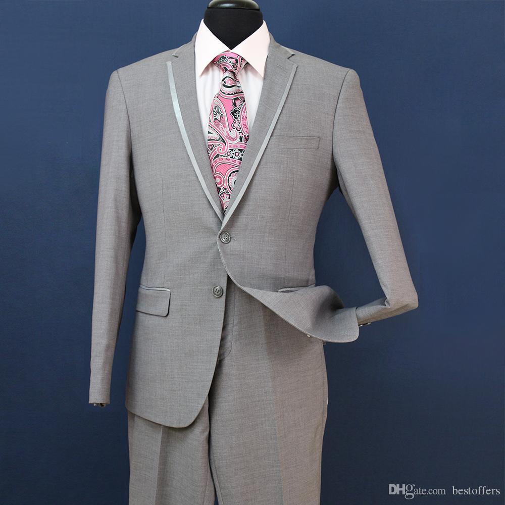 Slim Fit novio esmoquin padrinos de boda gris claro lado ventilación boda mejor traje de hombre trajes de hombre 3 piezas chaqueta + chaleco + pantalones ST008