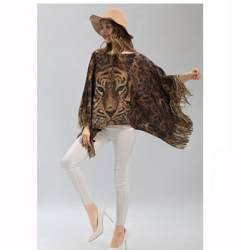 Tigre animale modello acrilico inverno autunno acrilico poncho rubato argento lurex sciarpa calda scialli mantelle cardigan economici LL180852