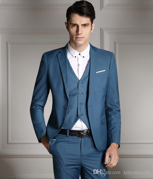 Blue Men Suits Slim Fit Formal Groom Prom Tailored Tuxedo Blazer ...