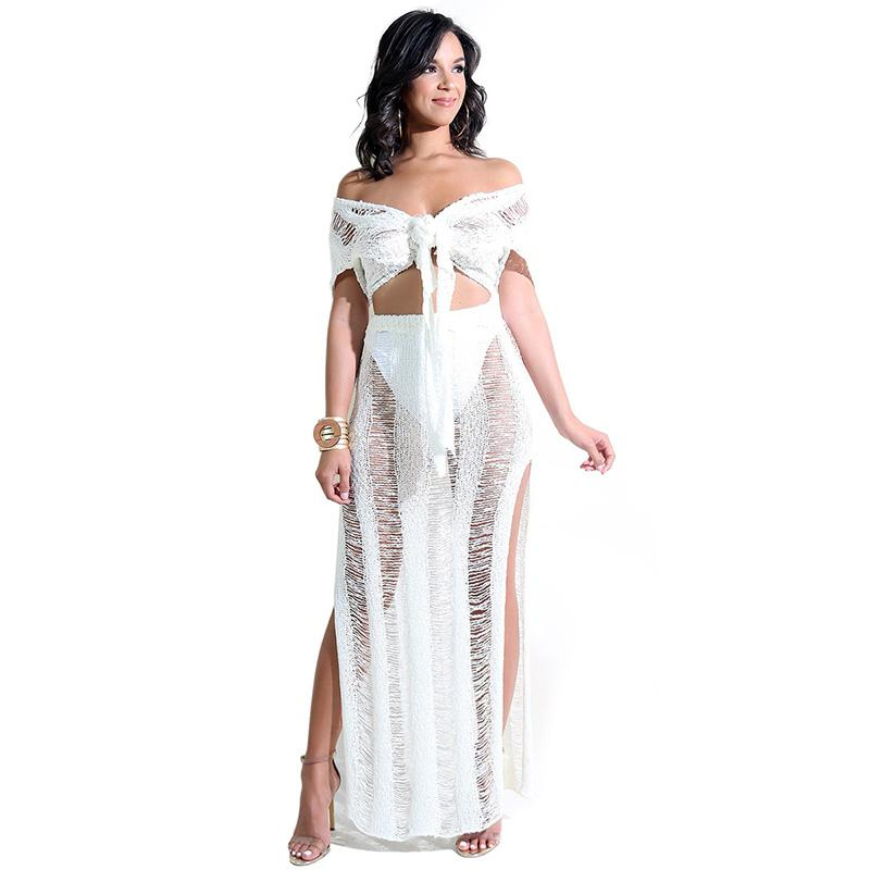 b10618535d0 2019 Women Sexy Matching 2 TWO PIECE SET Outfits Tube Top Skirts See  Through Suit Hollow Out Dress Transparent Nightclub Summer Beach From  Lvzhiclothes002