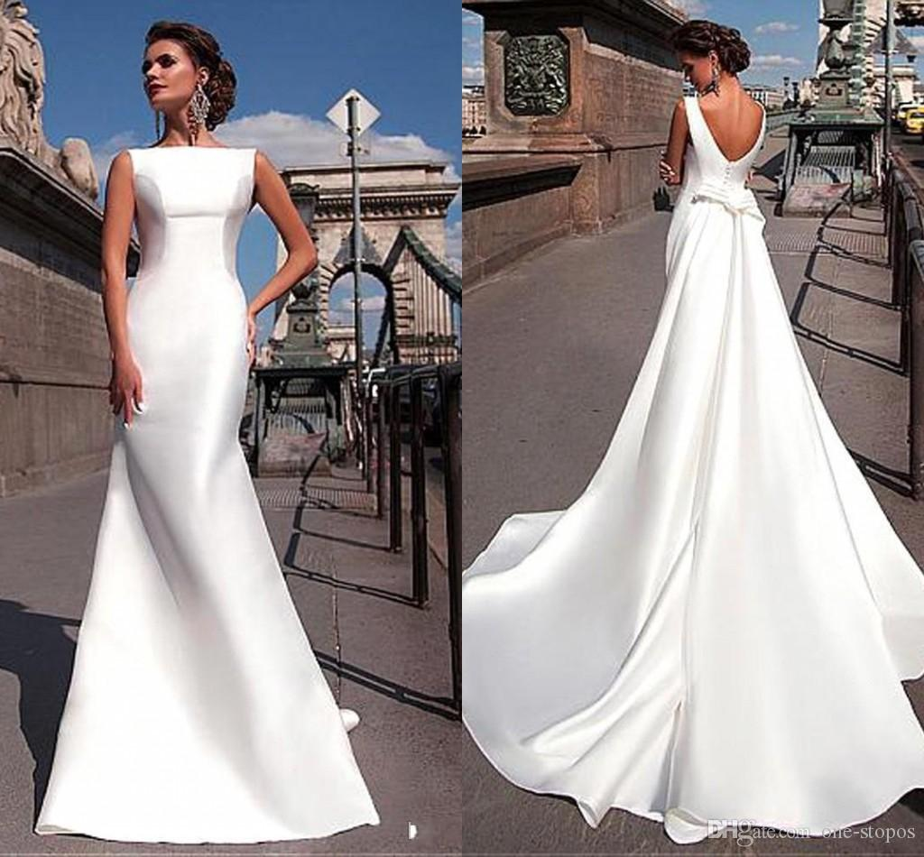 01c5f8b6c78 Simple Style Cheap Mermaid Wedding Dresses 2018 New Fashion Satin A Line  Backless Sexy Bridal Gowns Mermaid Cut Wedding Dresses Mermaid Wedding Dress  Body ...