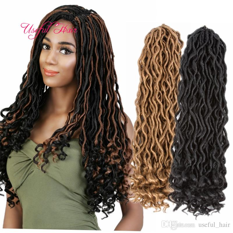 18 inç tığ tanrodess locs sentetik saç uzantıları Faux locs kıvırcık tığ örgüler ombre kanekalon örgü saç bohemian kilitler marley