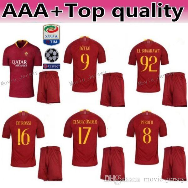 e5777c8b838 2019 FC AS Roma 10 Francesco Totti Jersey Men Soccer 9 Edin Dzeko 16  Daniele De Rossi Football Shirt Kits Custom Name Number From Movie jersey