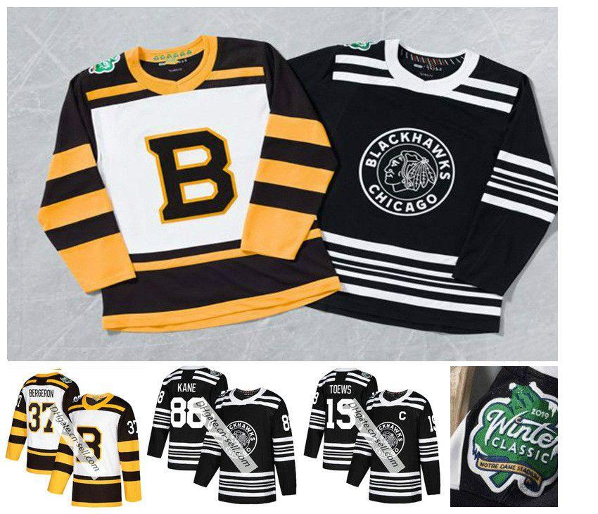 da744937e 2019 Winter Classic Boston Bruins Pastrnak Rask Bergeron Chara Marchand  Chicago Blackhawks Jonathan Toews Patrick Kane Keith Crawford Jersey UK 2019  From ...