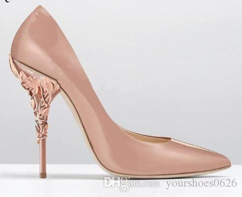 e0d378223c5 Nude Patent Leather Stiletto Heels Women Single Shoes Metal High Heels  Bridal Wedding Shoes Pointed Toe Women Pumps Strappy Heels Geox Shoes From  ...