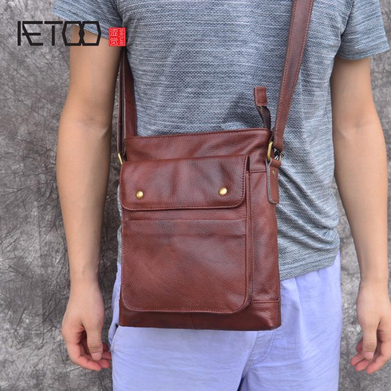 70107649bf AETOO 2018 Genuine Leather Bags Men High Quality Messenger Bags Small  Travel Dark Brown Crossbody Shoulder Bag For Men Hobo Bags Designer Bags  From Meledy