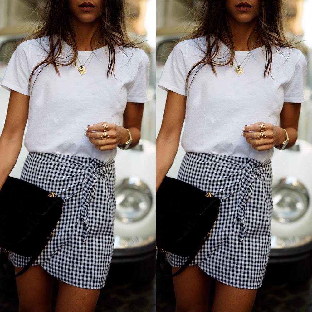 744aa444db 2019 Sexy Skirts Women Vintage Houndstooth Pencil Skirt Plaid High Waist  Asymmetrical Skirt Casual Lace Up Mini Short Skirts From Jamie06, $23.67 |  DHgate.