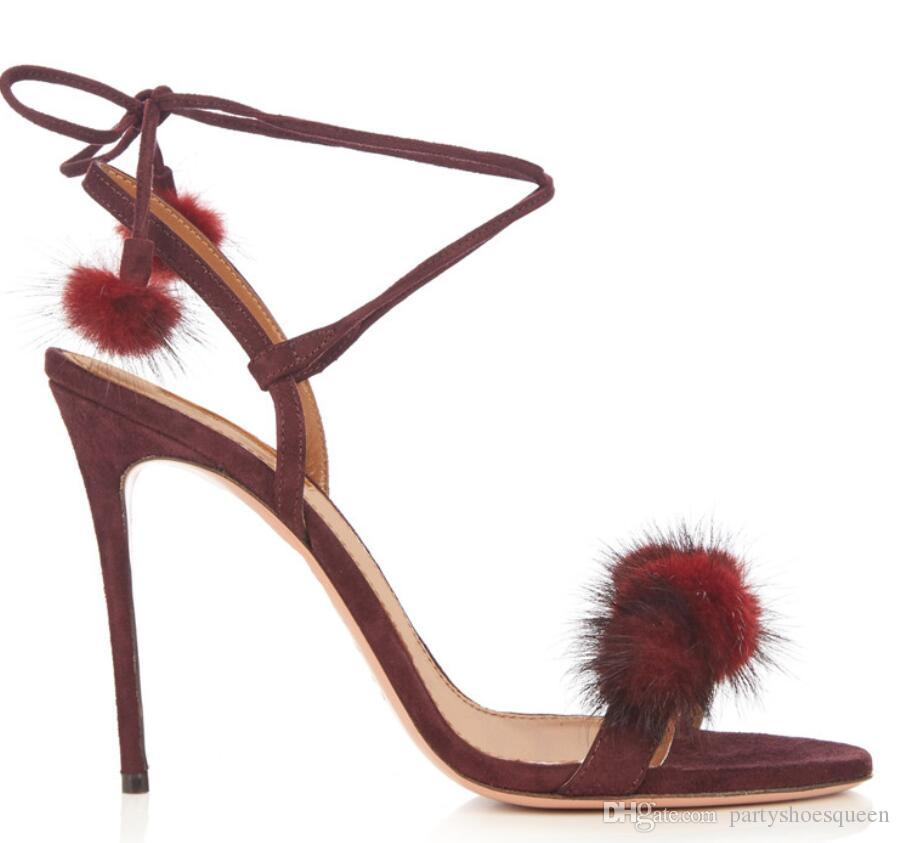 Alto Pom Tobillo Sandalias Talón De Sexy Tacón 2018 Piel Mujer Zapatos Gladiador Damas Fiesta Moda Delgados UzqpMGSV