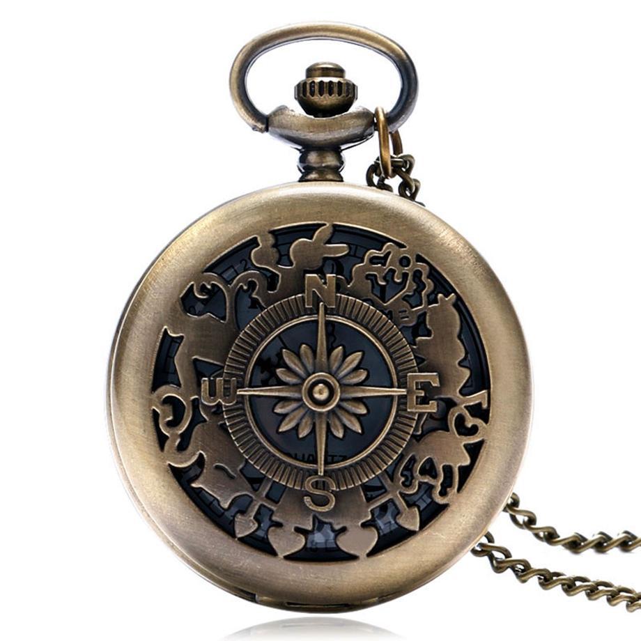 381372ddd3b Compre Oco Retro Vintage Bússola Oco Design Bronze Relógio De Bolso De Quartzo  Relógios Fob Presente Para As Mulheres Homens Relogio De Bolso De  Qiufenshuan ...
