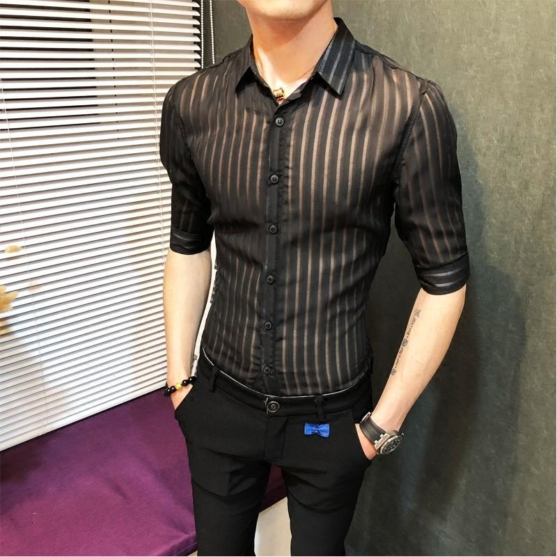 9fa7e85c82 2019 2018 Transparent Stripe Shirt Men Solid Black White Business Casual  Button Down Sexy See Through Slim Fit Shirt Camisa Masculina From  Watch2013