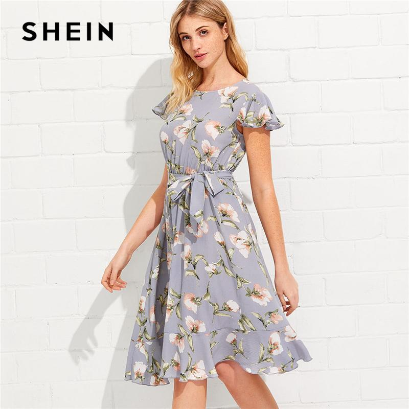 eb6919fead SHEIN Tie Neck Ruffle Hem Calico Dress 2018 Summer Fit And Flare Short Dress  Women Cap Sleeve A Line Floral Vacation Dress Y1890810 Little Black Dress  Prom ...