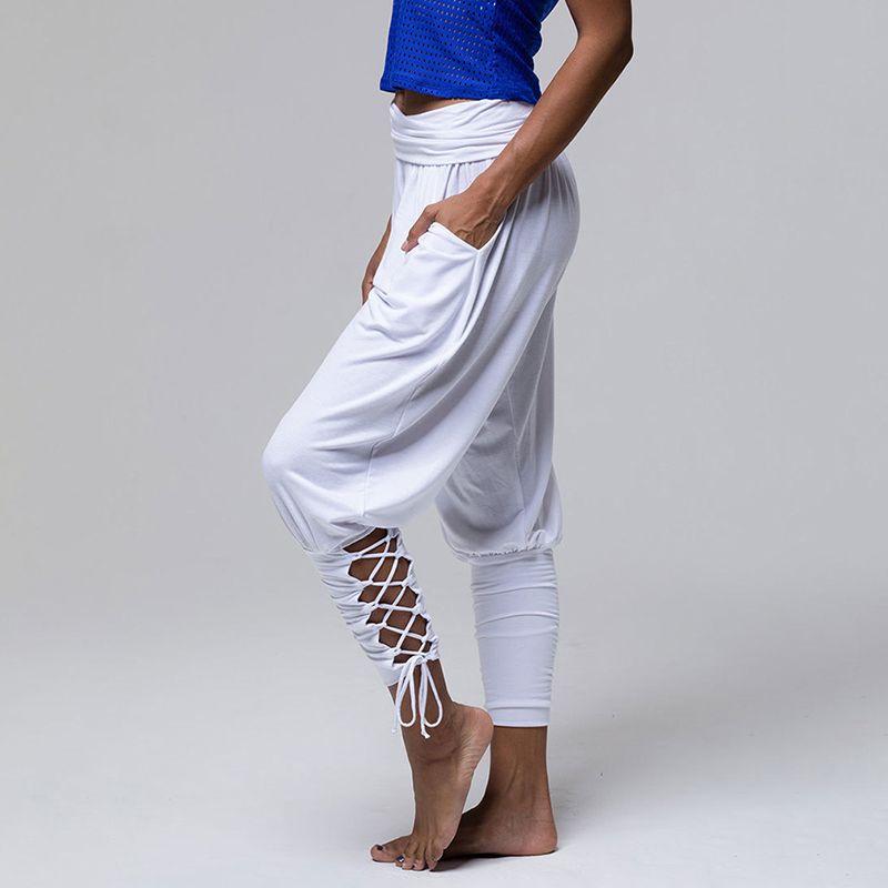 e2f35b6bf176c 2019 Elegant Bandage Pants Women 2019 Fashion High Waist Pocket Harem Pants  Casual Slim Work Out Bundle Strap Casual Ladies Trousers From Illusory06