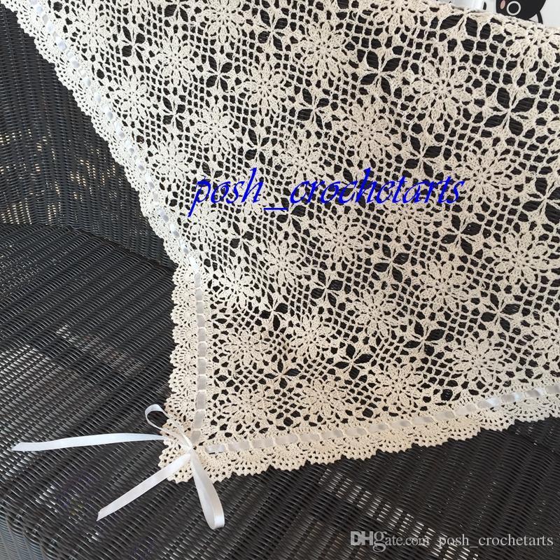 Manta de bebé de ganchillo Mantas tejidas a mano de algodón para regalos de bebé recién nacido Bebés de cama de guardería Patrón floral que hace punto presente único