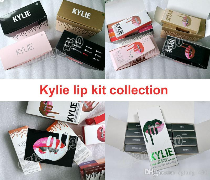 Kylie Jenner cosmetics 2 In 1 Lip Kit Newest 42 Colors And Vacation & Birthday & Fall & Holiday All Collection kits free shipping