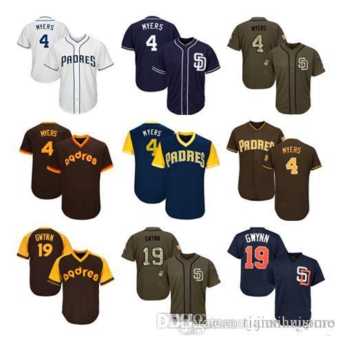 newest collection 8abf8 e6550 2019 Men Women Youth Padres Jerseys 4 Myers 19 Gwynn Baseball Jersey Wy  White Navy Blue Brown Salute to Service Players Weekend All Star