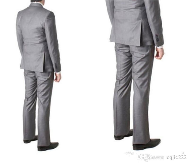 2018 neue Zweireiher Side Vent Hellgrau Bräutigam Smoking Spitze Revers Groomsmen Herren Hochzeit Smoking Prom Anzüge Jacke + Pants + Tie