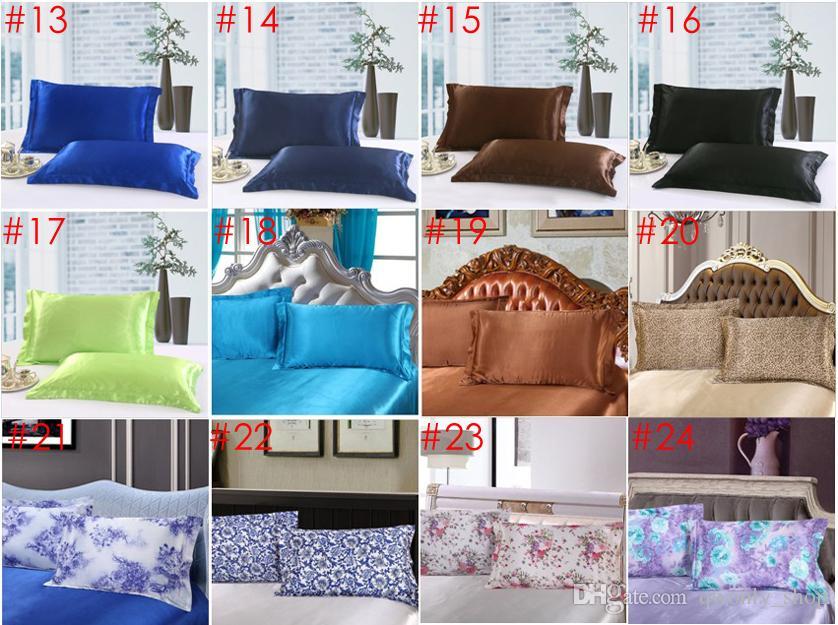 Solid Color Silk PillowCases Double Face Envelope Design Pillow Case High Quality Charmeuse Silk Satin Pillow Cover