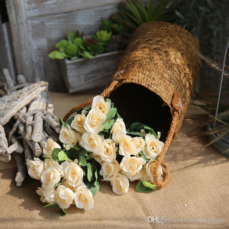 Gefälschte Blumen Persische Rose Grüne Milch Weiße Hortensien Farben Elegante Geschenke für Hochzeit Mittelstücke Balkon Restaurant Dekorative Sachen