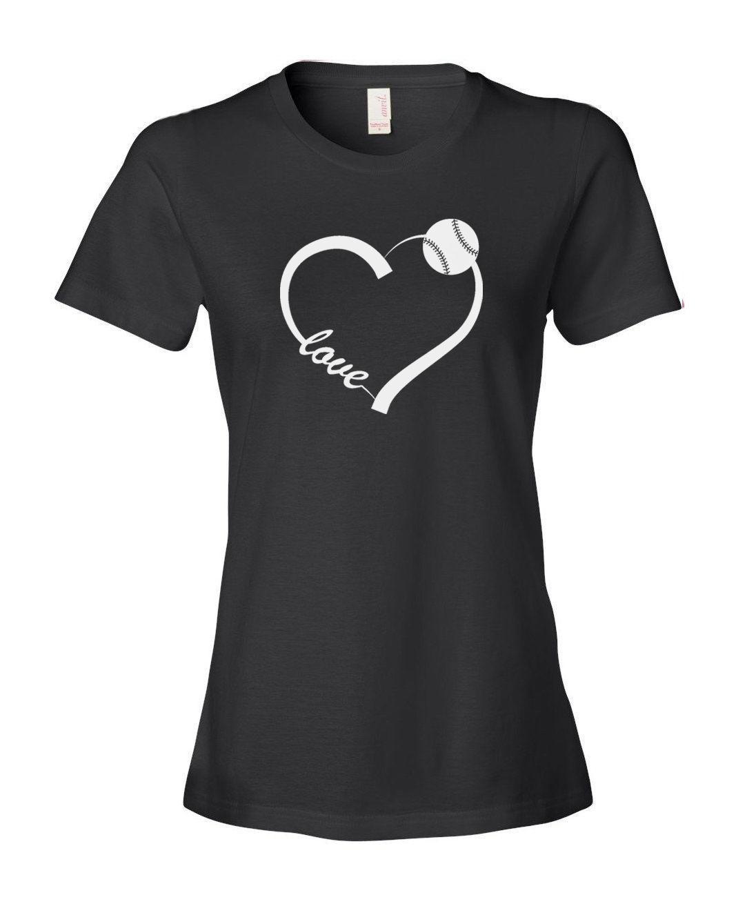 70cb5c2f Women's Tee Love Heart Baseball Softball Women's Ladies' Fashion Fit T  Shirt Shirt