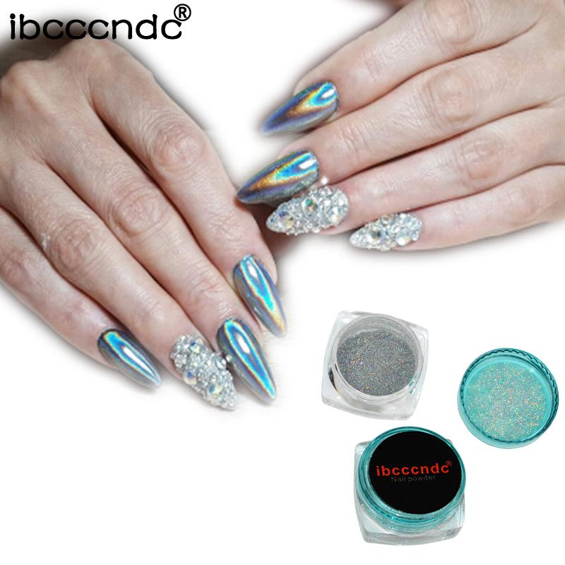 1g Box Rainbow Mirror Nail Glitter Powder Holographic Nails Dust Laser Holo Art Decorations Chrome Pigment For Gel Polish Tips Gold