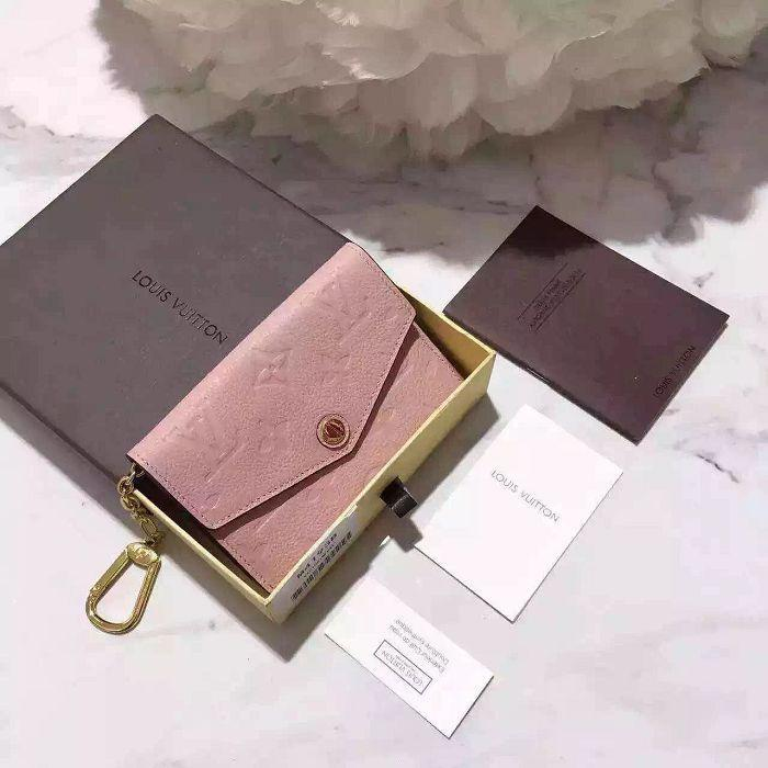 vvtisks8 M61247 pink embossed leather key case WALLETS OXIDIZED LEATHER CLUTCHES EVENING LONG CHAIN WALLETS COMPACT PURSE