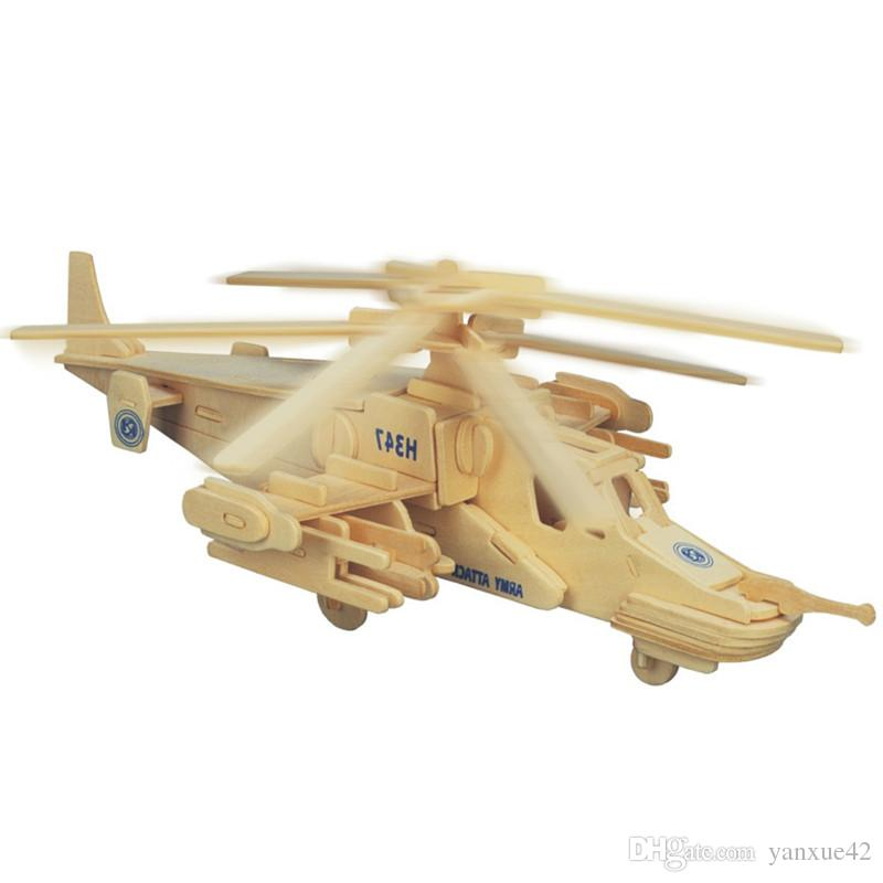 Reconnaissance Aircraft Fighters Planes Helicopters Wooden Jigsaw 3D Simulation Model DIY Stereo Jigsaw Puzzle Children Uni