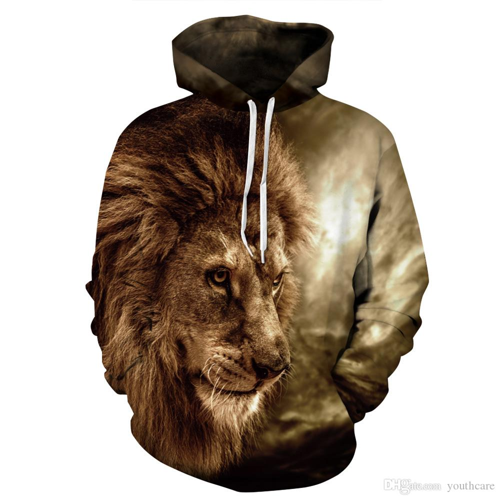 wholesale dealer 9c609 ab72a Youthcare Hoodie for Men and Women 3D Lions printed Designer men Hoodie  Oversize mens Pullover Long sleeve womens Sweater