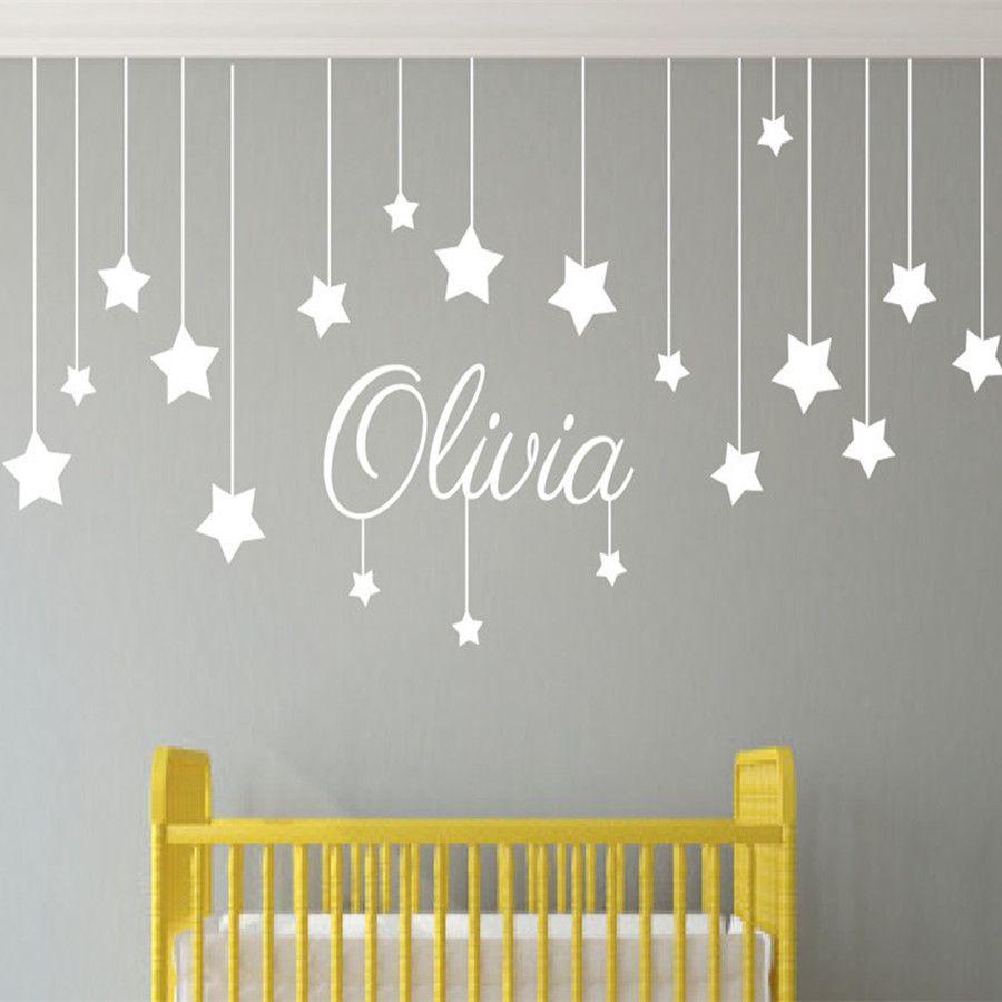 Name Custom Stars And Moon Childrens Wall Art Nursery Baby Decor ...