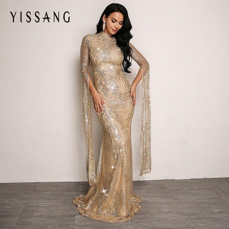7818de907d Compre Yissang Sexy Mulheres Vestido Longo De Lantejoulas 2018 Outono De  Cintura Alta Manga Longa Vestidos De Festa De Noite Mulher Elegante Vestido  De Ouro ...