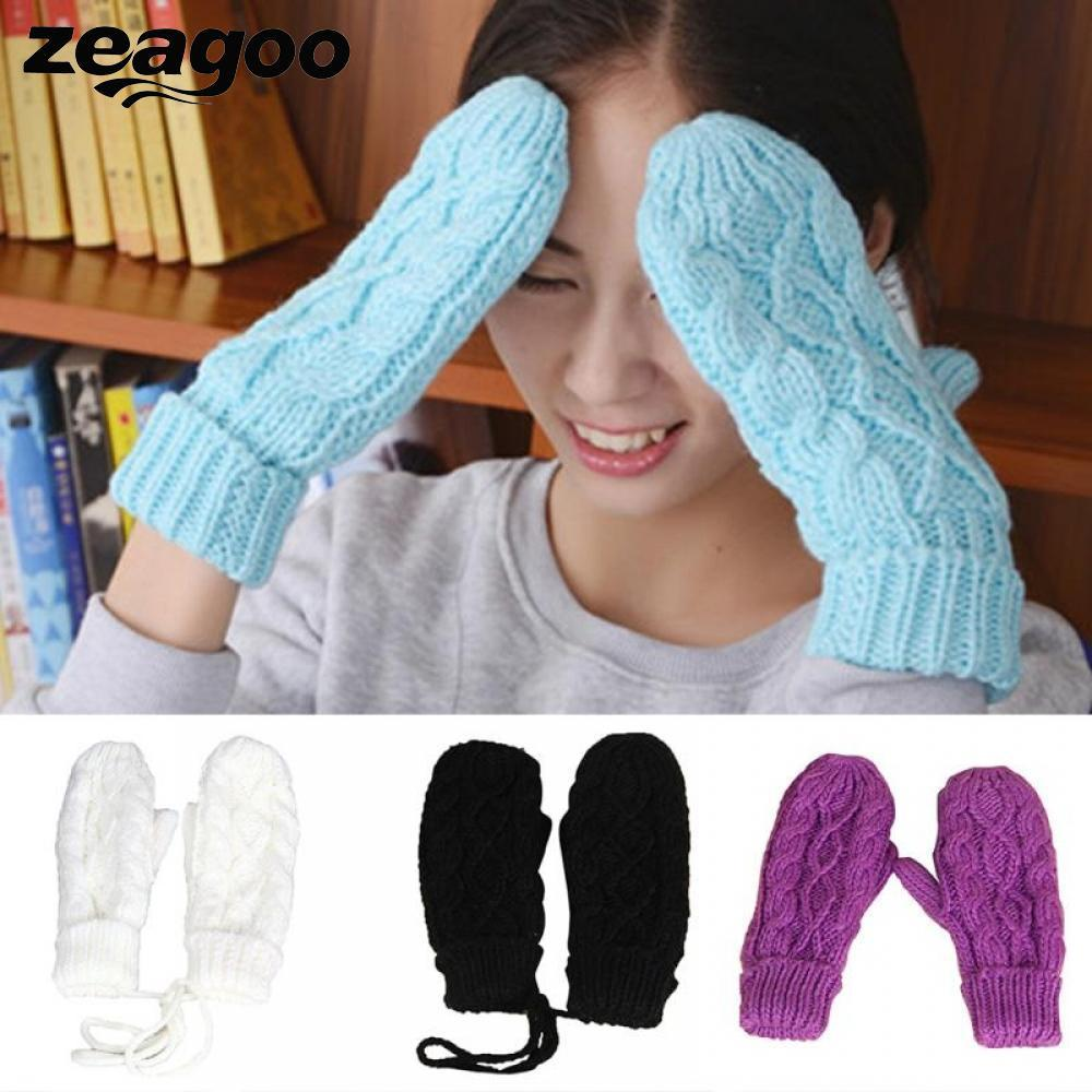 Zeagoo Winter Fingerless 2018 Hand Warmer Gloves Wool 8 Colors Fashion Girls High Quality Knitted Women Wrist Cashmere Mittens