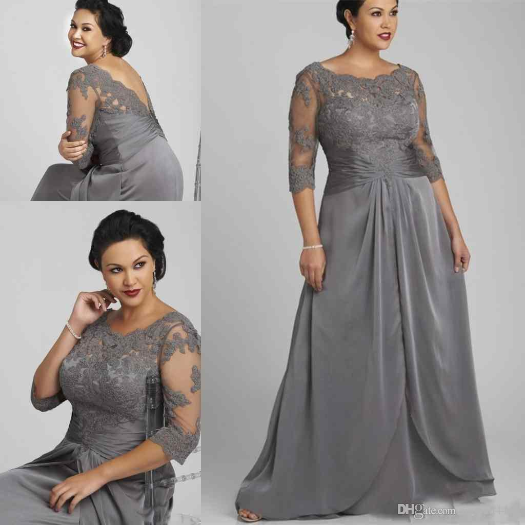 2018 Plus Size Silver Gray Column Mother Off Bride Dresses Half Sleeves  Lace Chiffon Ruched Backless Sweep Train Wedding Guest Evening Gowns