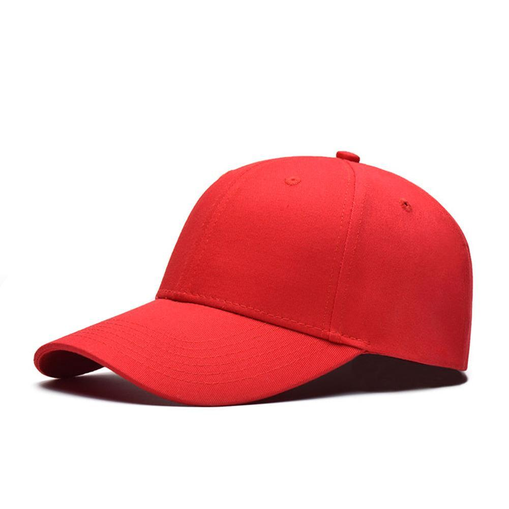 b99b5c2d7f8 Men Women Plain Baseball Cap Unisex Curved Visor Hat Hip Hop Adjustable  Peaked Hat Visor Caps Vigorous Red Solid Color Embroidered Hats Leather Hats  From ...
