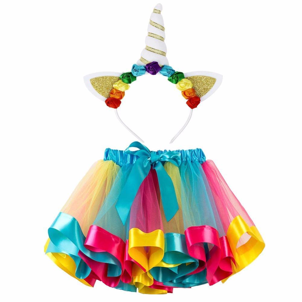 Compre Meninas Em Camadas Do Arco íris Tutu Saias Unicórnio Chifre