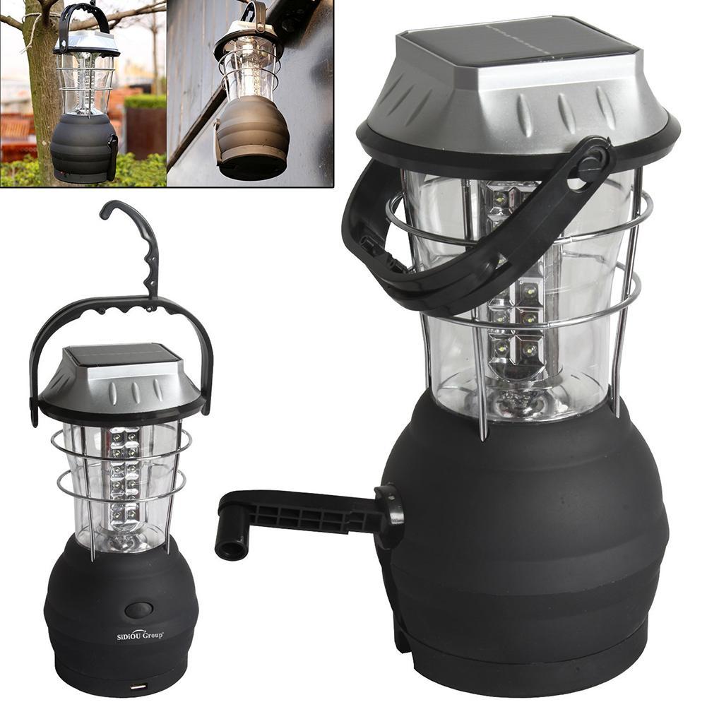 Das Beste 120 Lumen Tragbare Solar Ladegerät Laterne Notfall 16 Led Camping Laterne Wasserdichte Wiederaufladbare Hand Kurbel Licht Lampe Solarlampen