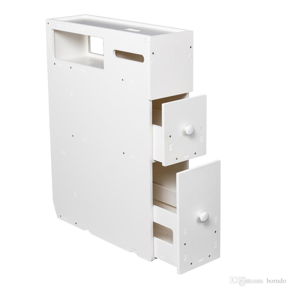 Bathroom Cabinet Floor Storage with Drawer Movable Toilet ...