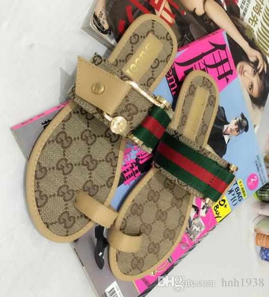 e4403f6046c5c0 Size 35-42 Gbrand Wonen Sandals Womens Flip-flops Fashion Outdoor Beach  Causal Slide Sandals Women Leather Flat Slippers Size 35-42 Women Flip-flops  Sandals ...