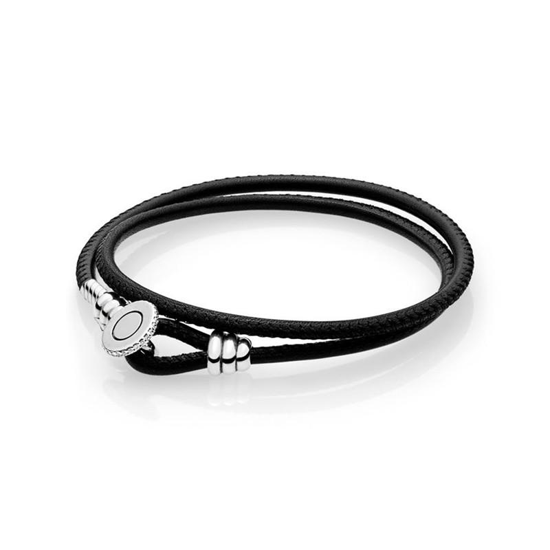 New 925 Sterling Sier Bead Charm Rope Fit Original Moments Black Double Leather Bracelet with Branded Button Clasp for Gift
