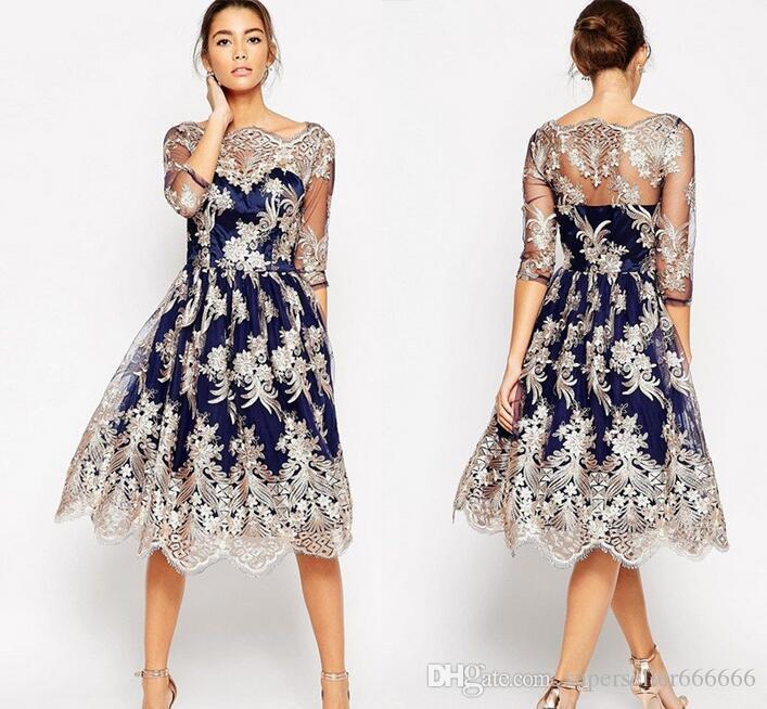 f2dce0ed64440 Satın Al Kadınlar Lüks Elbise Butik V Yaka Nakış Çiçekler Klasik Seksi  Dantel Şeffaf Perspektif Akşam Elbise Retro Dans Parti Elbiseler, $50.26    DHgate.