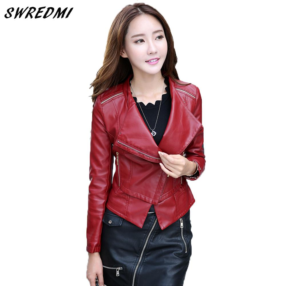 8c847d819ed Spring Leather Coat Women Motorcycle Leather Jacket Outerwear Black ...