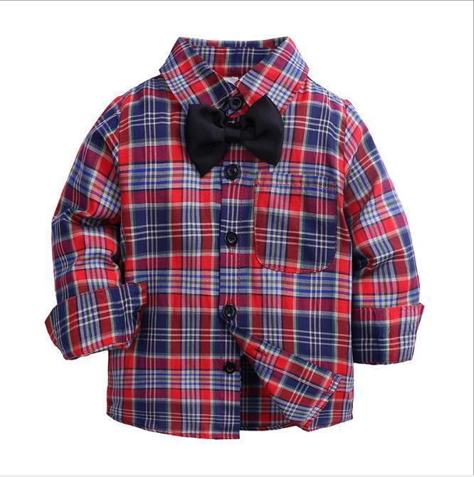 808d63e89 Compre Niños Niño Blusa Camisa De Algodón A Cuadros Para Bebés ...