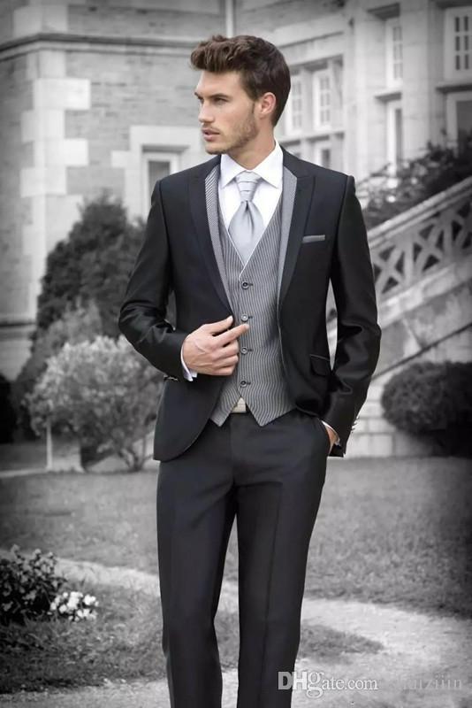 Slim Fit Black Men Suit Groom Tuxedos Groomsmen Formal Suits ...