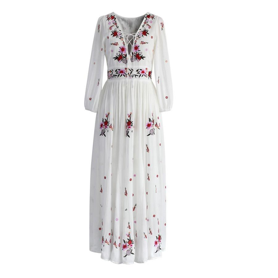 bf3477fd253 2019 TEELYNN White Boho Long Dress Cotton 2018 Vintage Floral Embroidery  Tassel Casual Maxi Dresses Hippie Women Dress Brand Clothing From Maoyili,  ...