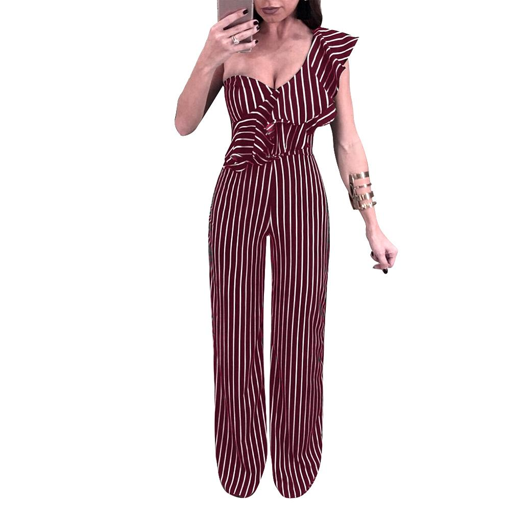 7355d93504d6 2019 New Sexy Women Striped Wide Leg Jumpsuit Ruffle Single One Shoulder  Jumpsuit High Waist Party Club Slim Rompers Female Playsuit From Ziron