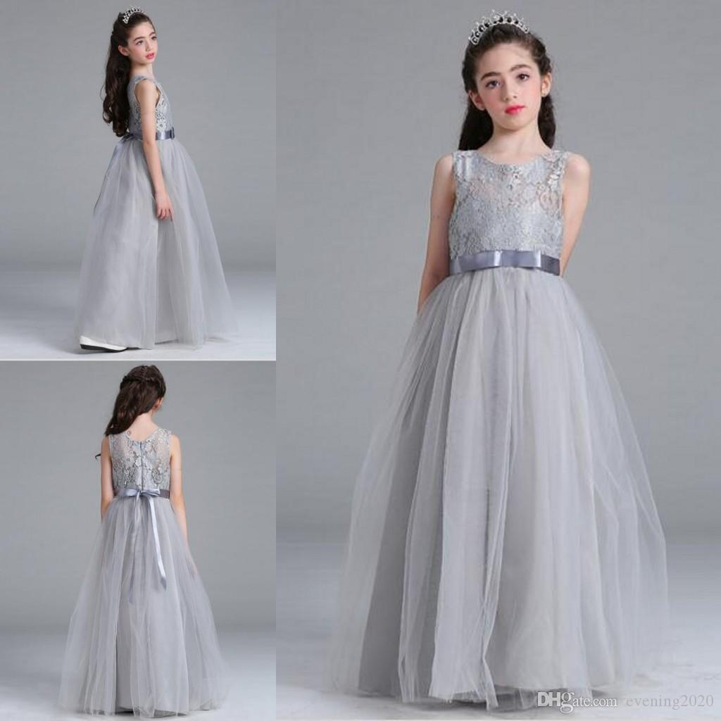 335861c636 2018 Gray Lace Net Applique Girl s Pageant Dresses Flower Girl Dresses  Jewel Sleeveless Zipper Back With Ribbon Sashes Kids Formal Wear