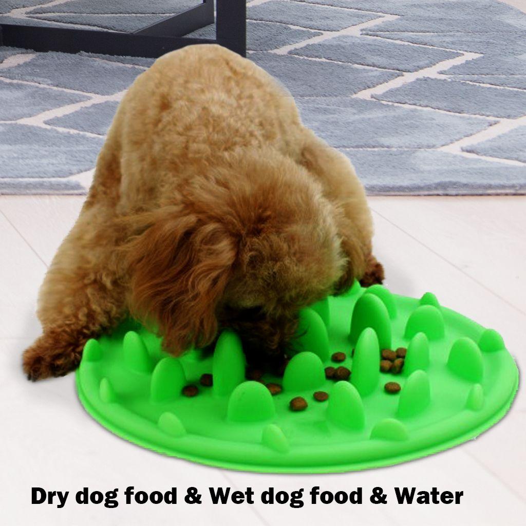 Alimentador lento para perros Comedero para comida Alimento para mascotas Slicone Green Interactivo para perro Anti Choke Slip No Gulp