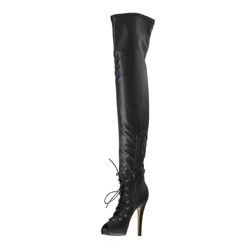 f628876b2002 Narrow Band Womens Thigh High Boots Peep Toe Over The Knee Boots Hollow Out  Inner Platform Lace Up High Heels Latest Shoes Footwear Fringe Boots From  ...
