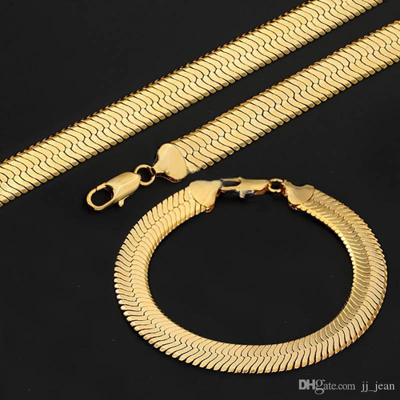 e71f23609861 Compre Cuerda De Hip Hop De 18 Quilates Chapado En Oro Collar Para Hombres  9 Mm Pesados pulseras Conjuntos De Joyería Fina Snack Curb De Cadena De ...