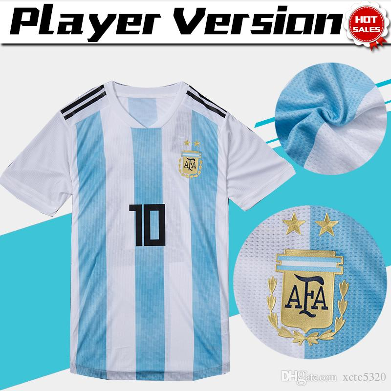 c314ab68083 ... World Cup Argentina Home Soccer Jersey Argentina 10 MESSI Soccer Shirt   21 DYBALA  9 AGUERO Home Football Uniforms Sales From Xctc5320