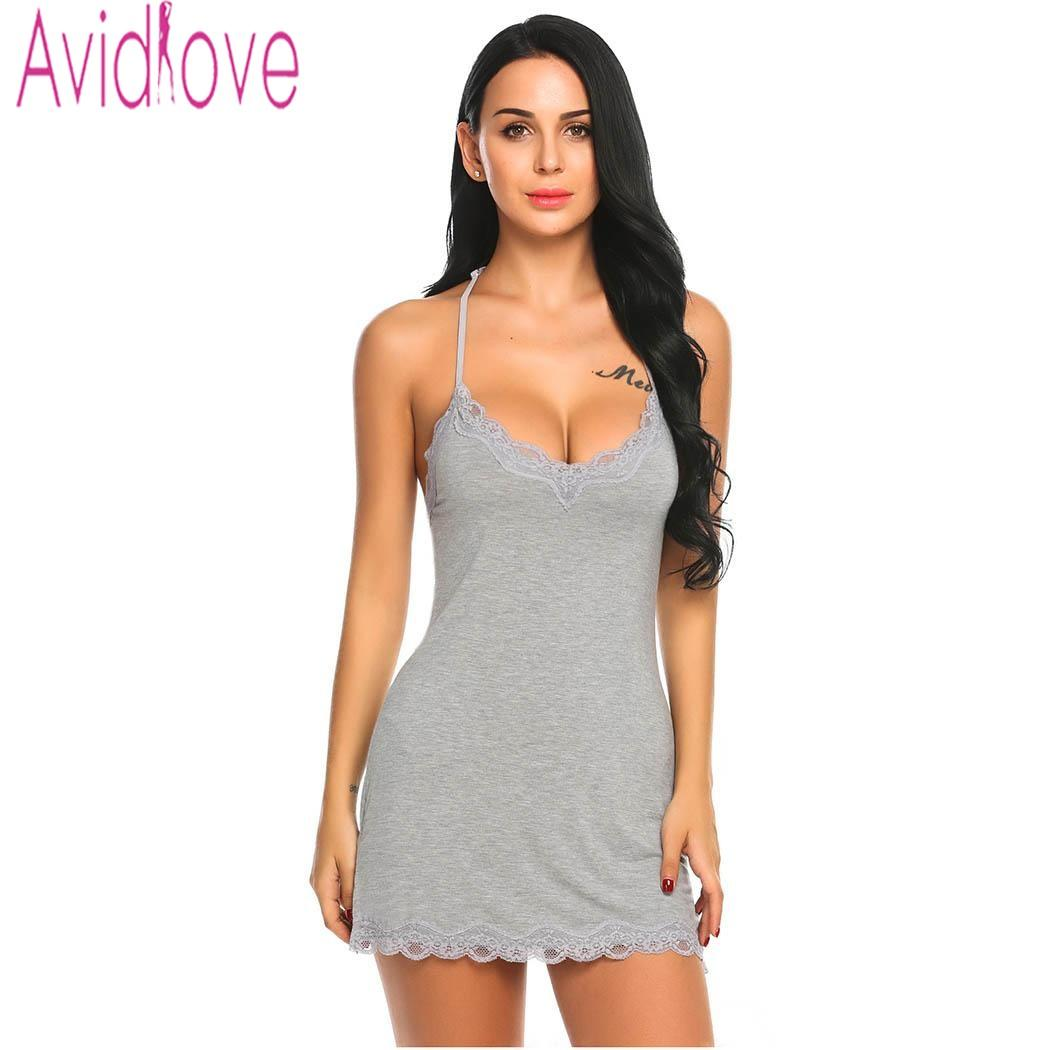 31aedd1978a 2019 Avidlove Nightgown Women Lace Nightwear Backless Sleepwear Sexy V Neck  Nightgowns Sleeveless Nightdress Lady Home Clothes From Fitzgerald10